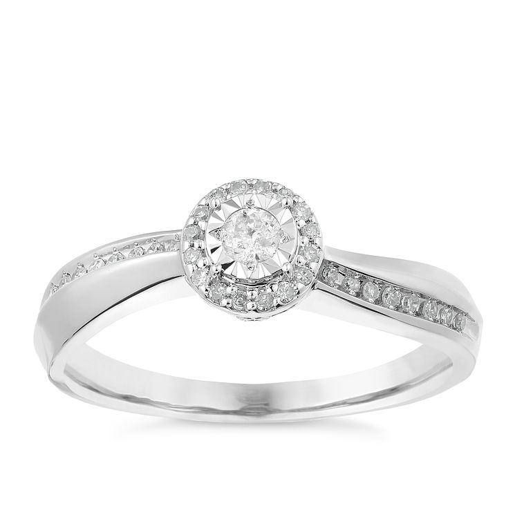 9ct White Gold Diamond Halo Illusion Solitaire Ring