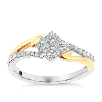 Cherished Silver & Yellow Gold Square Diamond Cluster Ring - Product number 2774380