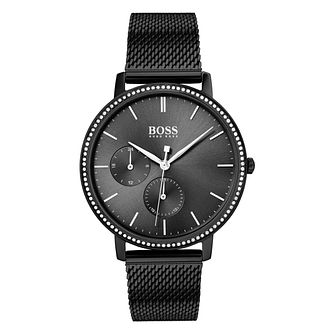 BOSS Infinity Ladies' Black IP Mesh Bracelet Watch - Product number 2776464