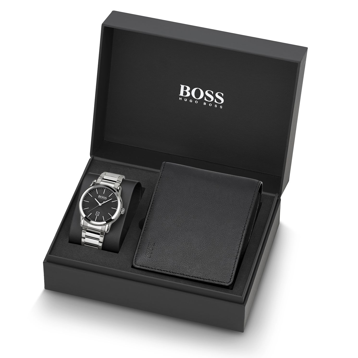 BOSS Men's Bracelet Watch & Black Leather Wallet Gift Set - Product number 2776529