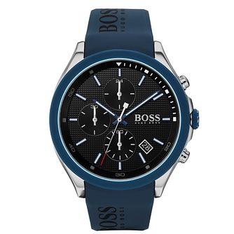 BOSS Velocity Men's Blue Rubber Strap Watch - Product number 2776545