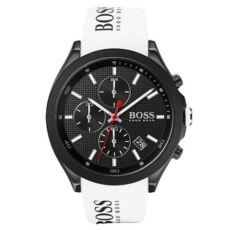 BOSS Velocity Men's White Rubber Strap Watch - Product number 2776553