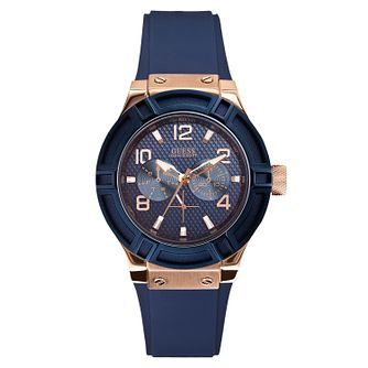 Guess Ladies' Navy Silicone Strap - Product number 2776820