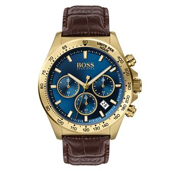 BOSS Hero Men's Brown Leather Strap Watch - Product number 2777398