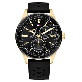 Tommy Hilfiger Austin Men's Black Rubber Strap Watch - Product number 2779064