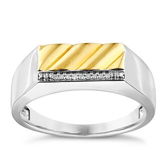 Sterling Silver & 9ct Yellow Gold Diamond Set Signet Ring - Product number 2783479