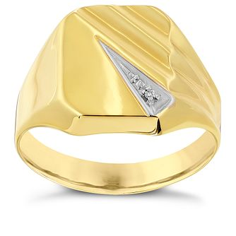 9ct Yellow Gold Diamond Set Rectangular Signet Ring - Product number 2783746