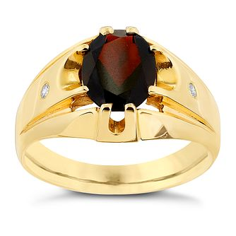 9ct Yellow Gold Diamond & Garnet Signet Ring - Product number 2784394