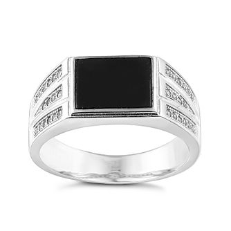 Sterling Silver Onyx & Cubic Zirconia Signet Ring - Product number 2785056