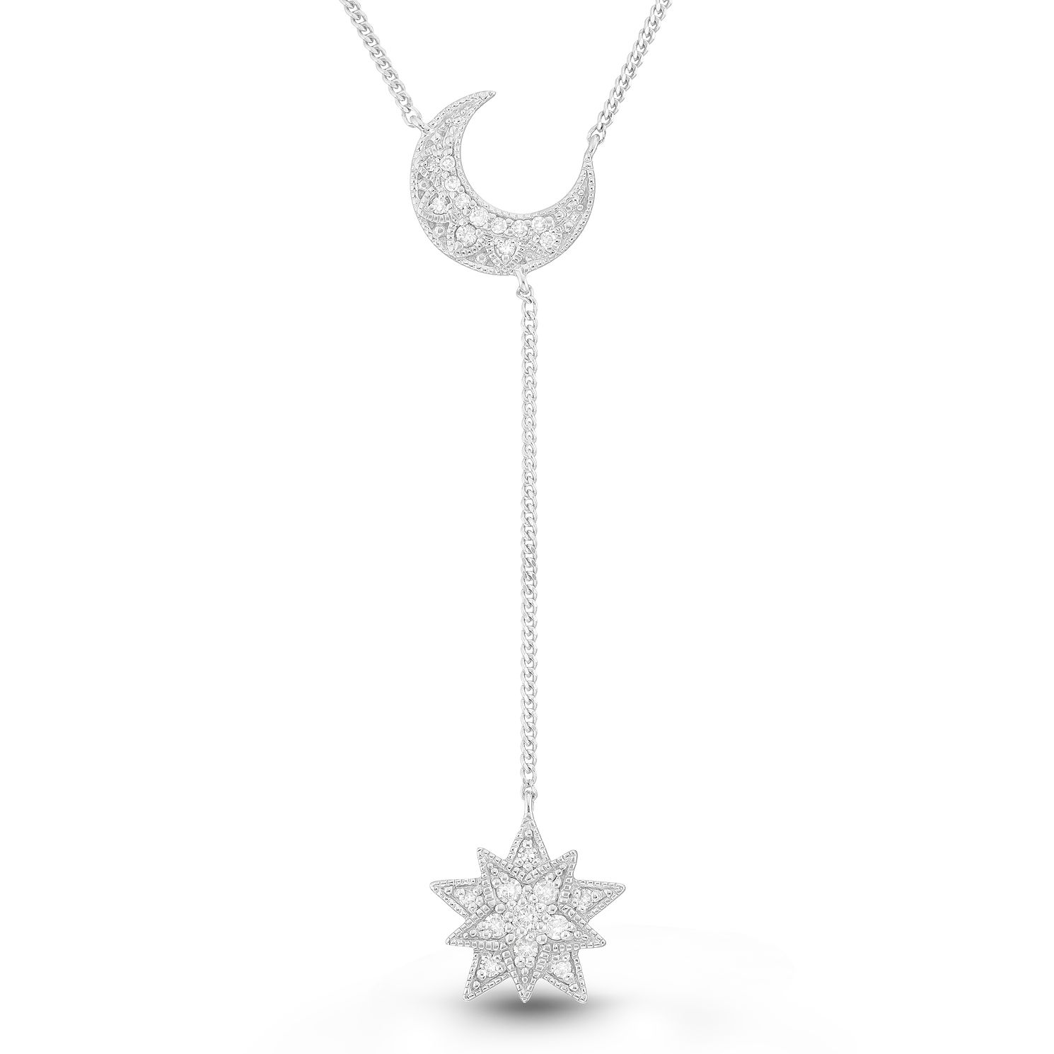 Neil Lane Designs Silver 1/10ct Diamond Moon & Star Pendant - Product number 2787768