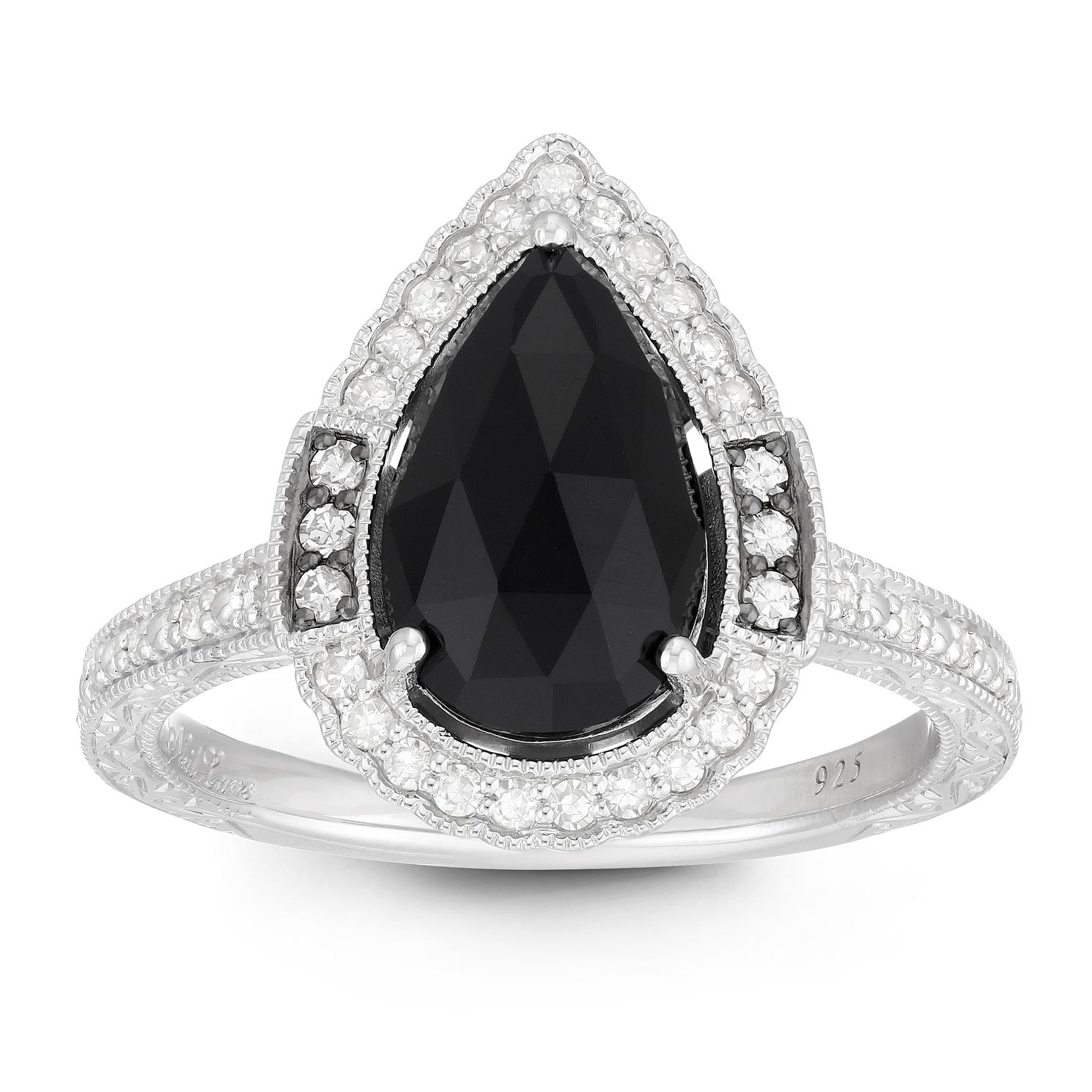 Neil Lane Designs Silver 1/5ct Diamond & Onyx Pear Ring - Product number 2787814