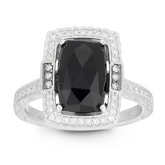 Neil Lane Designs Silver 1/5ct Diamond & Onyx Rectangle Ring - Product number 2787989