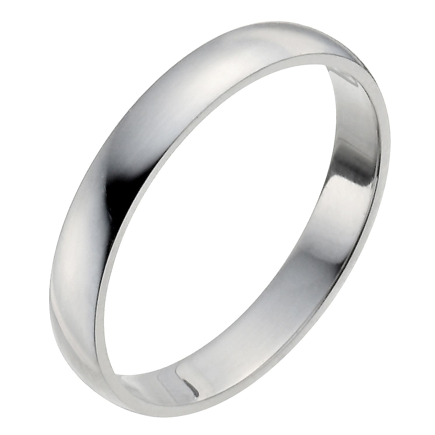 Platinum 3mm Heavy D Shape Ring - Product number 2794098