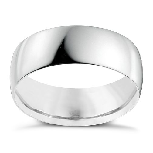 18ct White Gold 7mm Heavy D Shape Ring - Product number 2803364
