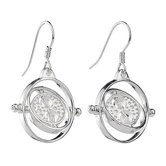 Harry Potter Silver & Swarovski Time Turner Drop Earrings