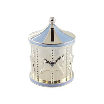 Childhood Memories Silver Plated Blue Carousel Money Box - Product number 2822423