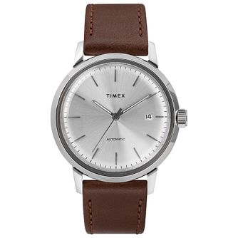 Timex Marlin Men's Automatic Brown Leather Strap Watch - Product number 2827573