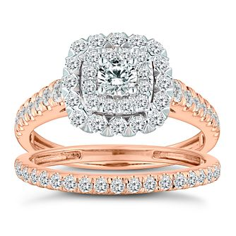 18ct Rose Gold 1ct Diamond Cushion Bridal Ring Set - Product number 2827646