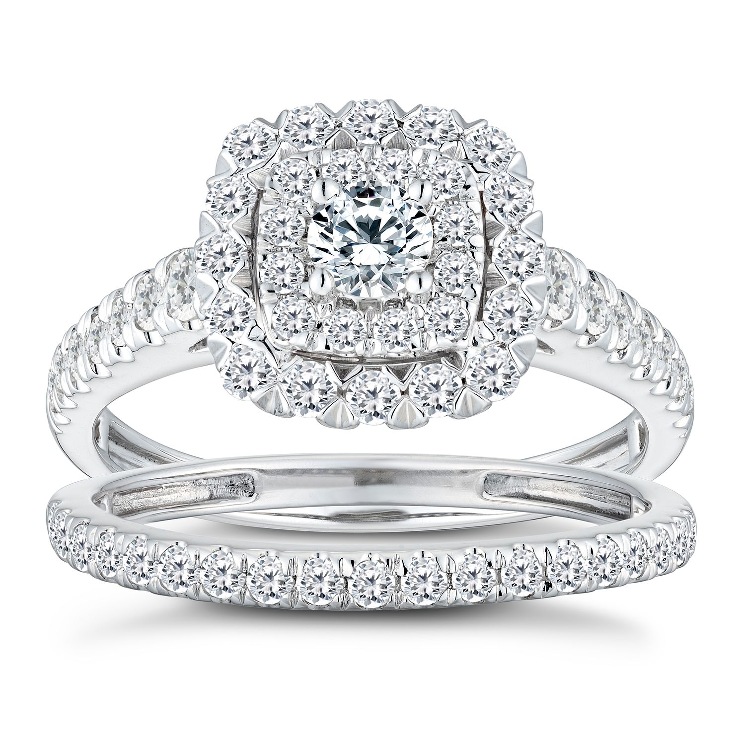 18ct White Gold 1ct Diamond Cushion Bridal Ring Set - Product number 2827867