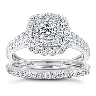 18ct White Gold 1ct Total Diamond Cushion Bridal Ring Set - Product number 2827867
