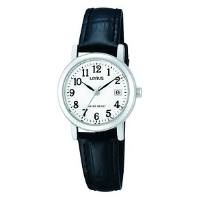 Lorus Ladies' Stainless Steel & Black Leather Strap Watch - Product number 2828189