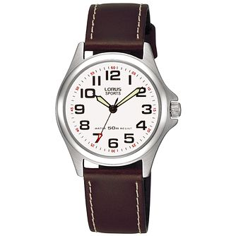 Lorus Ladies' Stainless Steel & Brown Leather Strap Watch - Product number 2828308
