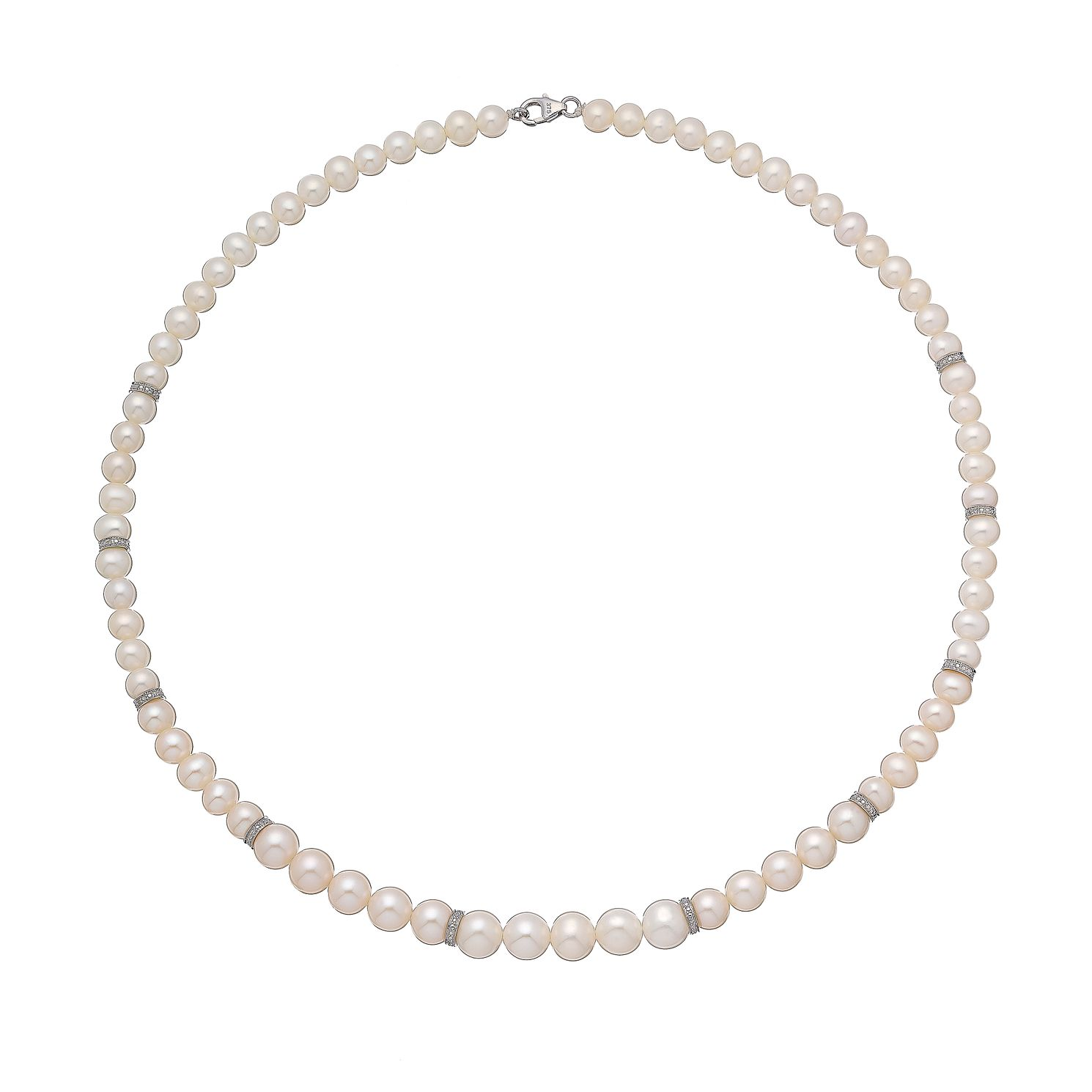 9ct White Gold Cultured Freshwater Pearl & Diamond Necklace - Product number 2828456