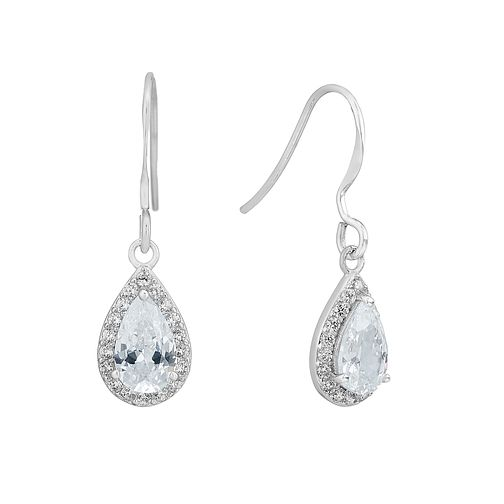 Sterling silver and cubic zirconia pear drop earrings - Product number 2828529