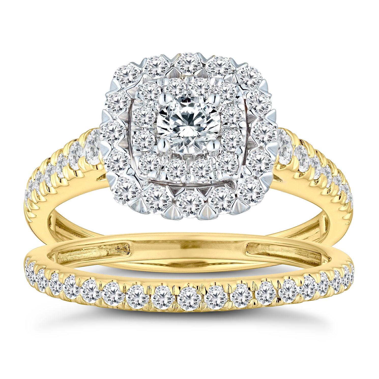 18ct Yellow Gold 1ct Diamond Cushion Bridal Ring Set - Product number 2828944