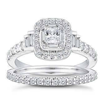 Platinum 1ct Diamond Radiant Baguette Bridal Ring Set - Product number 2829339