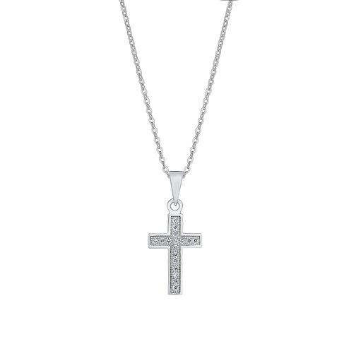 Sterling silver and cubic zirconia cross pendant - Product number 2829886