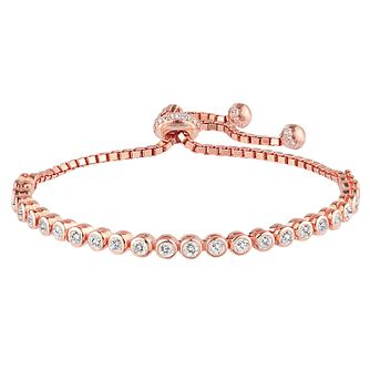 Rose Gold-Plated Tennis Adjustable Bracelet - Product number 2830191