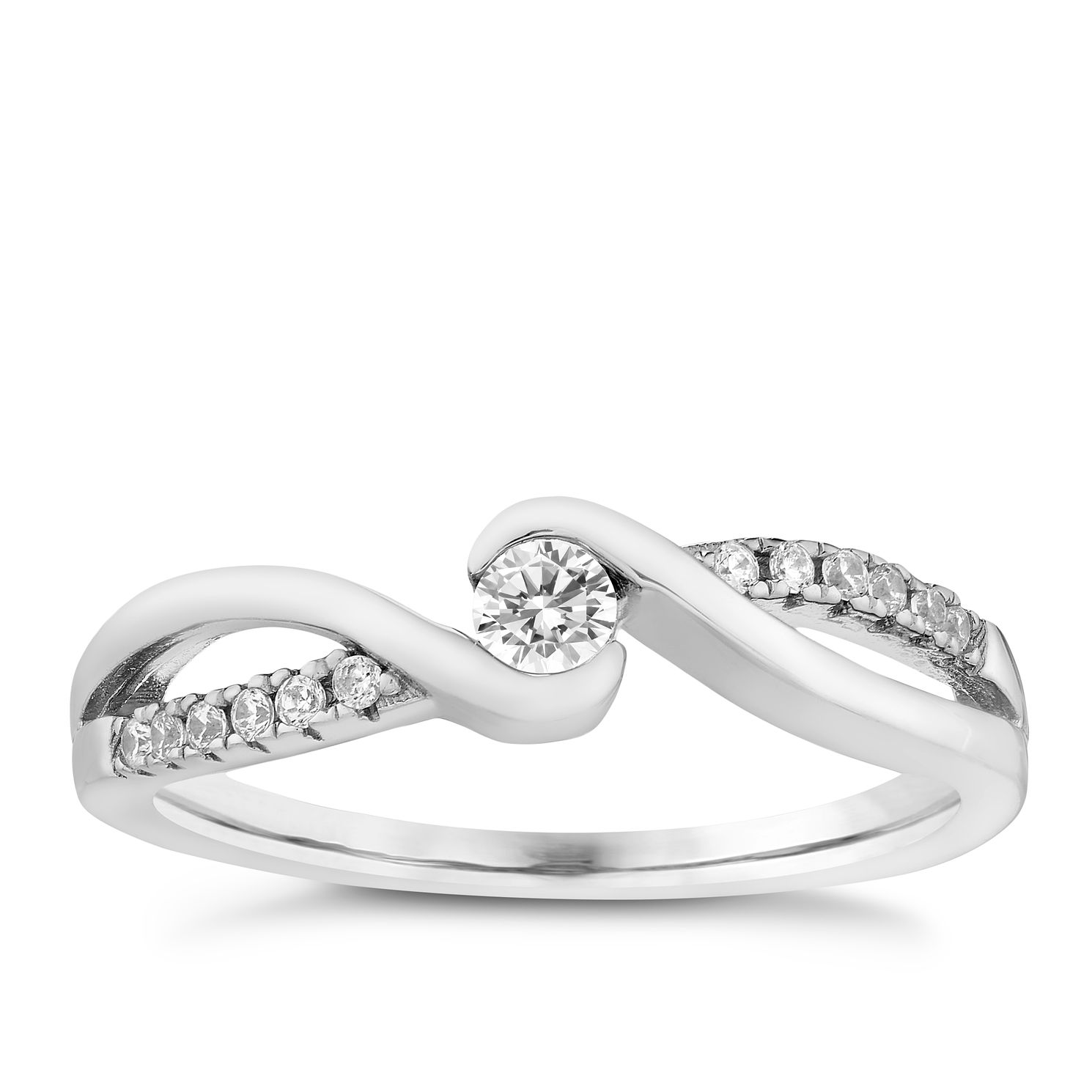 Silver & Cubic Zirconia Twist Ring - Product number 2830817