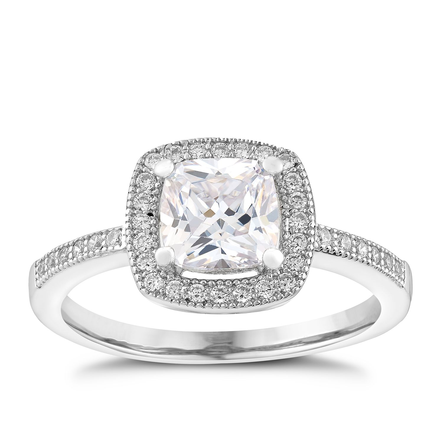 Silver And Cubic Zirconia Halo Cushion Cut Ring - Product number 2831082
