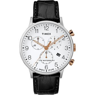 Timex Waterbury Contactless Men's Black Leather Strap Watch - Product number 2833212