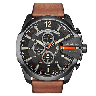 Diesel Mega Chief Men's Brown Leather Strap Watch - Product number 2834022