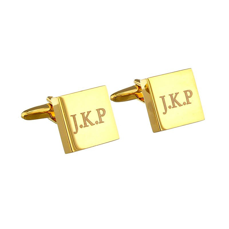 Engraved Gold Plated Square Cufflinks - Product number 2834332