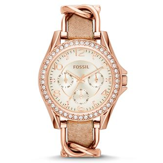 Fossil Ladies' Rose Gold Tone Leather Strap Watch - Product number 2838818