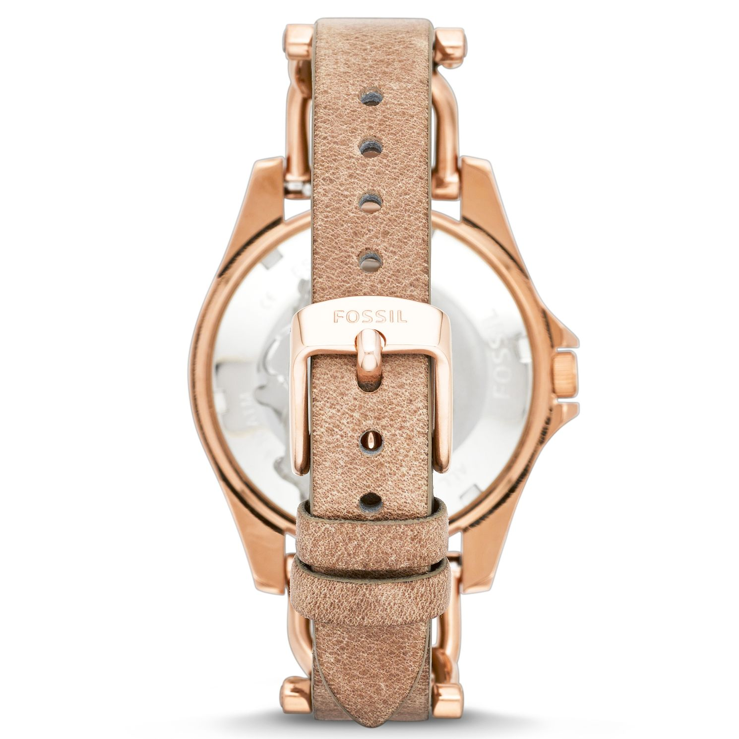 Fossil Georgia Womens 26mm Rose Gold Nude Leather Strap
