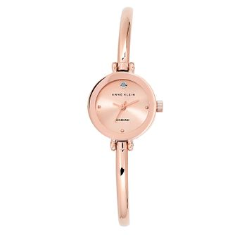 Anne Klein Ladies' Rose Gold Plated Diamond Bangle Watch - Product number 2839423