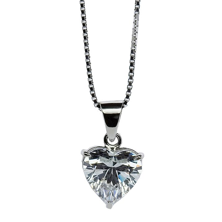 CARAT* LONDON 9ct White Gold, Heart Shaped Pendant. - Product number 2840782