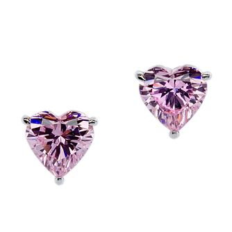 CARAT* LONDON 9ct White Gold Heart Shaped Stud Earrings. - Product number 2840790