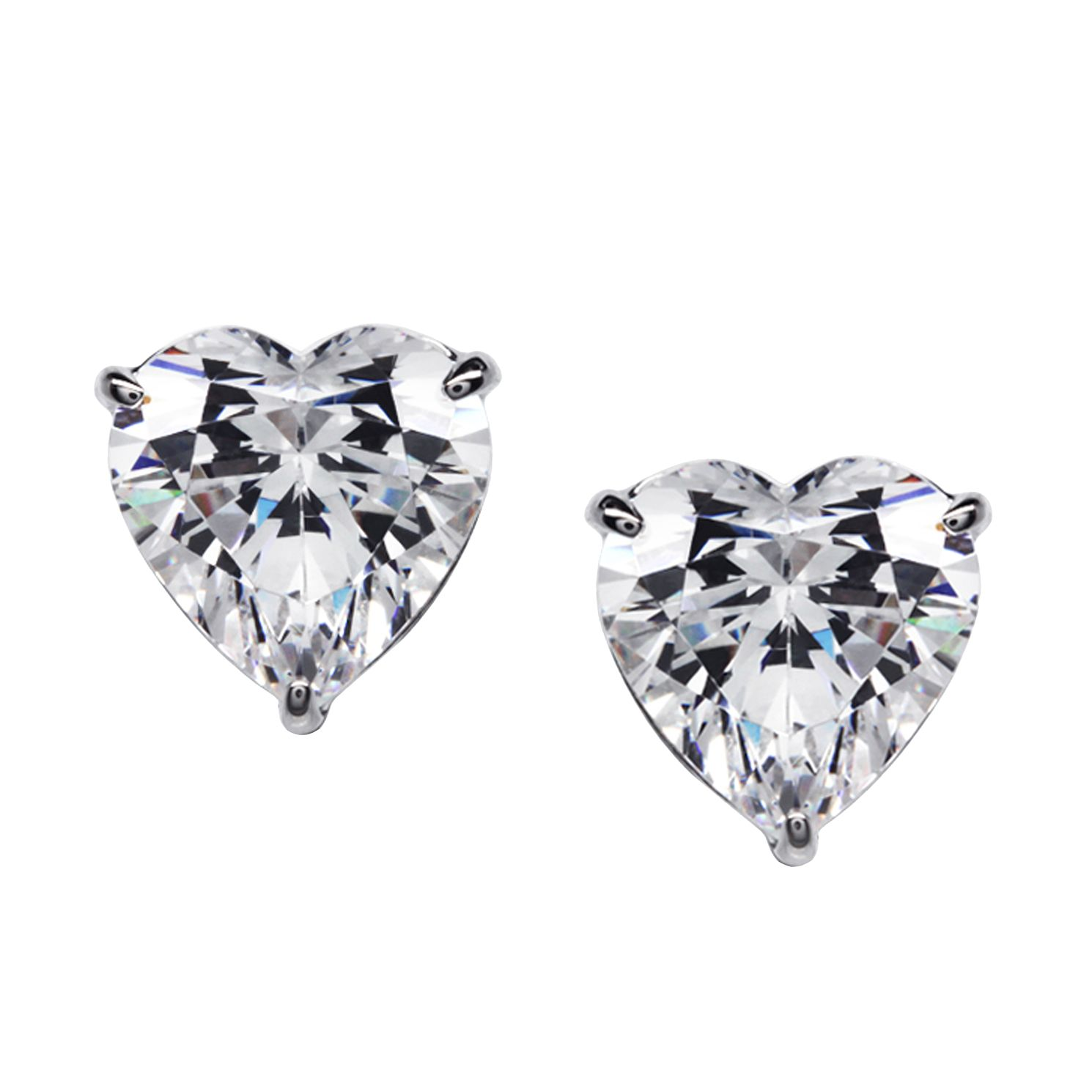 CARAT* LONDON 9ct White Gold Heart Stud Earrings - Product number 2840812