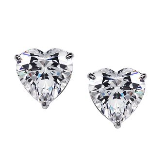 CARAT* LONDON 9ct White Gold, Heart Shaped Stud Earrings. - Product number 2840812