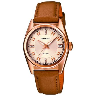 Casio Sheen Ladies Rose Gold Tone & Brown Leather Watch - Product number 2840839