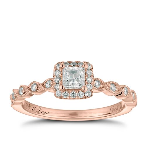 Neil Lane 14ct Rose Gold 0.41ct Princess Cut Diamond Ring - Product number 2843897