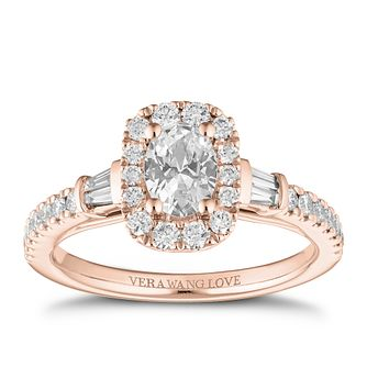 Vera Wang 18ct Rose Gold 0.95ct Diamond Oval Halo Ring - Product number 2847442