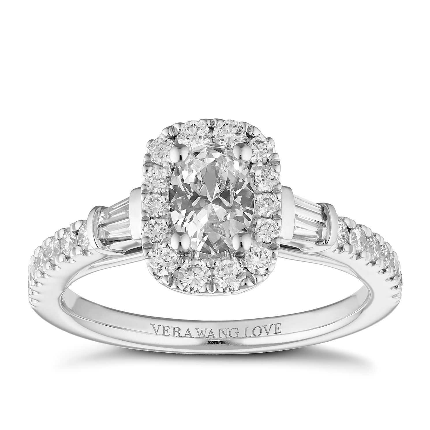 Vera Wang Platinum 0.95ct Diamond Oval Halo Ring - Product number 2847701