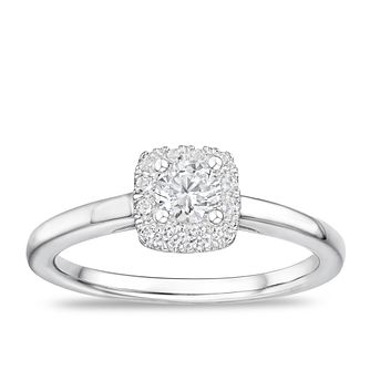 Tolkowsky Platinum 0.40ct Diamond Cushion Halo Ring - Product number 2850117