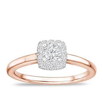 Tolkowsky 18ct Rose Gold 0.40ct Diamond Cushion Halo Ring - Product number 2850419
